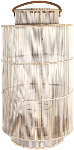 DECORATION LANTERN XL ARRAS METAL FRAME WHITE WASH