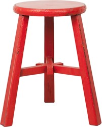 SMALL FURNITURE STOOL ROUND RED