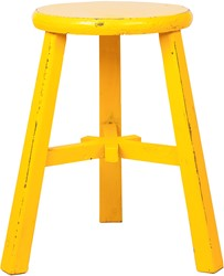 SMALL FURNITURE STOOL ROUND YELLOW