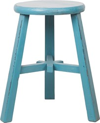 SMALL FURNITURE STOOL ROUND BLUE