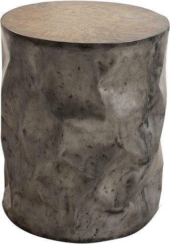 TABLE DRUM RUSTIC GREY  48 ROND