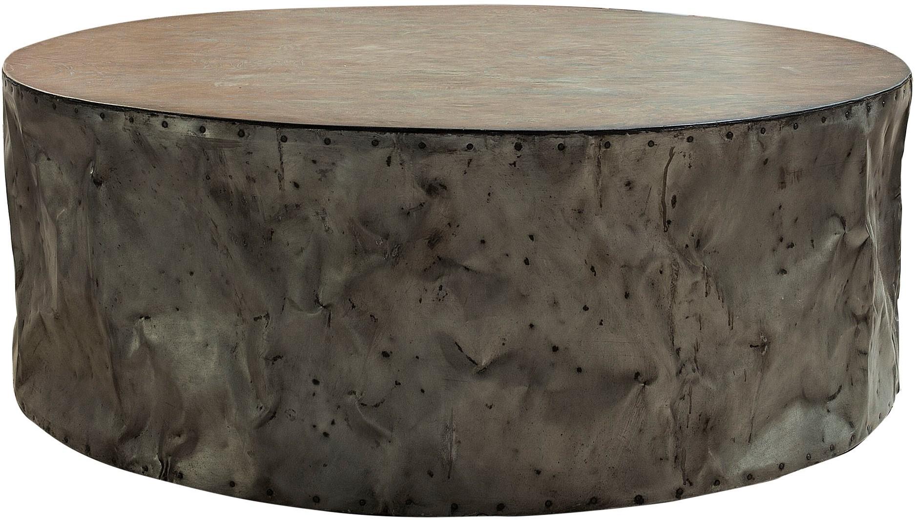 Salontafel drum rustic grey rond bij nano interieur