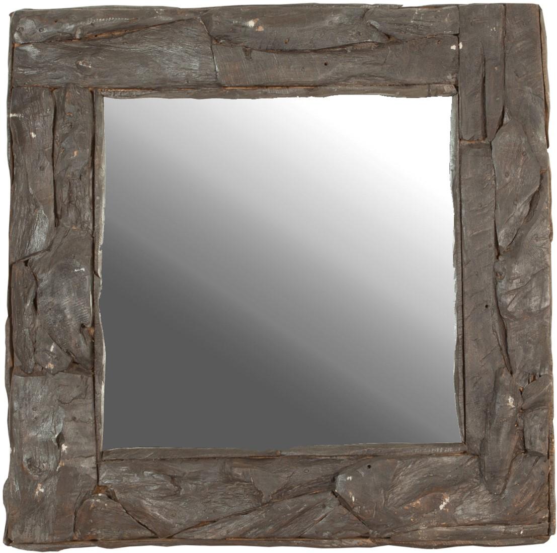 Spiegel rustic spiegel root zwart vierkant bij nano interieur - Spiegel voor ingang ...