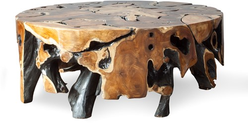 COFFEE TABLE ROOT TEAK ROUND/ GLOSS/ 110