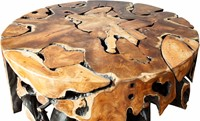 COFFEE TABLE ROOT TEAK ROUND/ HIGH GLOSS/ 110-2