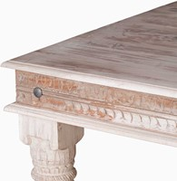 WOODEN CARVED DINNING TABLE WITH CARVED LEG 180 X 100 X 76 DISTRESS GRAY FINISH-2