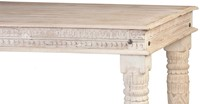 WOODEN CARVED DINNING TABLE WITH CARVED LEG 180 X 100 X 76 DISTRESS GRAY FINISH-3