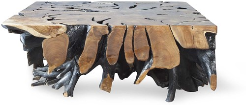 COFFEETABLE ROOT TEAK SQUARE/HIGH GLOSS/ 110