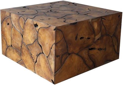 COFFEE TABLE ROOT TEAK GLOSS SQUARE PUZZLE