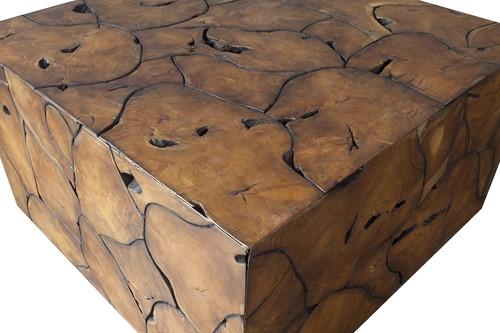COFFEE TABLE ROOT TEAK MELAMINE SQUARE PUZZLE-3